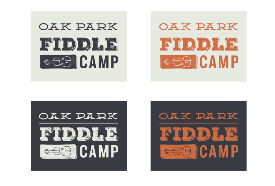 Oak Park Fiddle Camp logo variations